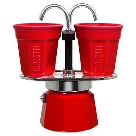 Set Espresso Bialetti Mini Rosu+ 2 Pahare Cafea
