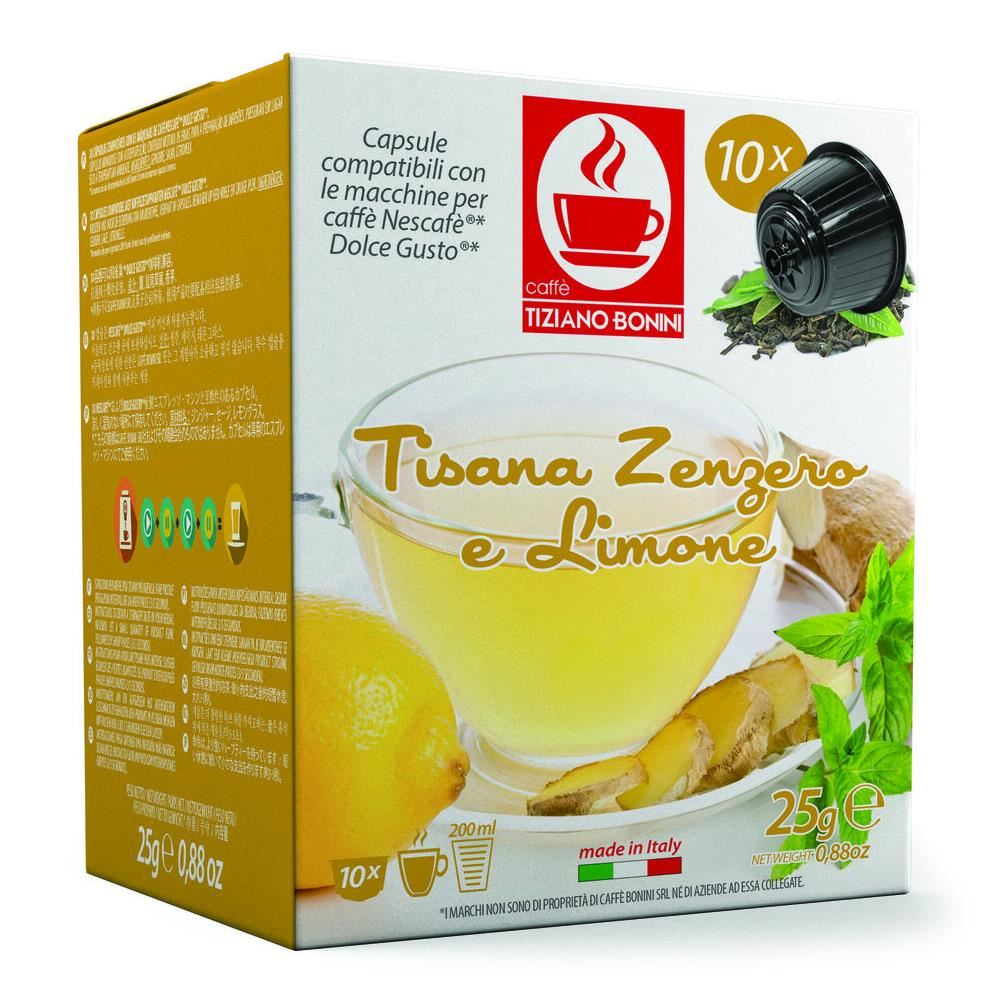 Capsule ceai ghimbir & lamaie TIZIANO BONINI, compatibile DOLCE GUSTO, 10 buc.